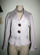 JAMES COVIELLO Sz S Pale Pink Big Button Peplum Ruffle Hem Jacket - $9.49