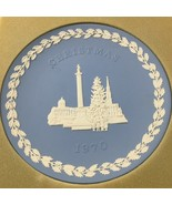 "Wedgwood Blue Jasperware Christmas Plate 1970 Trafalgar Square 8"" Englan... - $43.61"