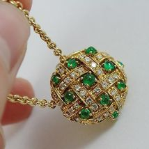 18k YELLOW GOLD NECKLACE WITH CABOCHON GREEN EMERALD AND DIAMONDS BUTTON PENDANT image 6