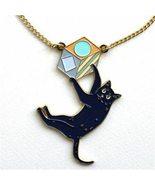 UK Style Cut Enamel Black Cat Pendant Necklace for Womens Bijoux Accesso... - $9.37