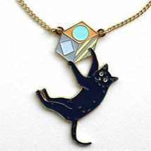 UK Style Cut Enamel Black Cat Pendant Necklace for Womens Bijoux Accesso... - $9.37