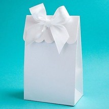 24 Elegant White Gift Box or Bag Favors with Bow for Do It Yourself Filling - $21.78