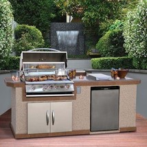 Cal Flame LBK-801 BBQ Island w/Tropical Tan Top and Champagne Gry Base - $4,311.65
