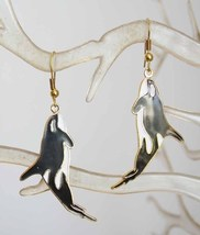 Elegant Cloisonne Enamel Orca Whale Pierced Earrings 1970s vintage - $14.95