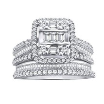 0.88 Ct Round & Baguette Real Diamond Sterling Silver Halo Engagement Bridal Set - $466.18