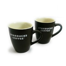 Starbucks 2008 Coffee Mug 12 oz. Matte Chocolate Brown White Logo Lot of 2  - $14.85