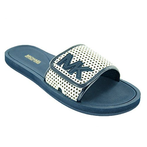 MICHAEL Michael Kors Women's MK Slide Sandals White/Navy Size 5