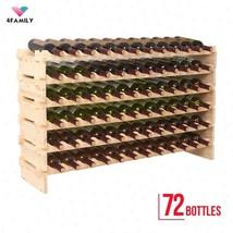 Wine Rack 72 Bottles Holder Stackable Storage 6 Tier Solid Wood Display ... - $59.35