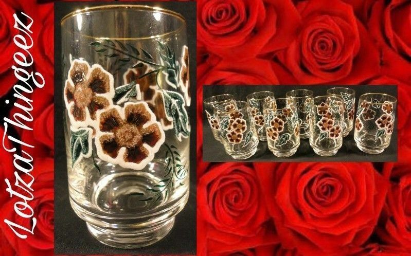Beautiful Clear Glasses Set/8 Brown Green Floral Hand Painted Gold Rim Tumblers