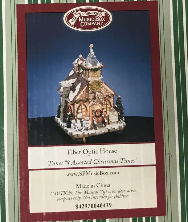 Primary image for The San Francisco Music Box Company Fiber Optic House 8 Assorted Christmas Tunes