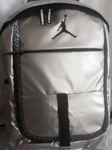 b40cfe1879b3 NIKE Air Jordan Jumpman Backpack School Bag Metallic Silver Black Elephant  Print