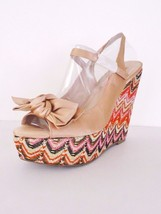 NIB Betsey Johnson Wenndy Platform Wedge Satin Sandal Leather Sz 8.5 M B... - £43.67 GBP