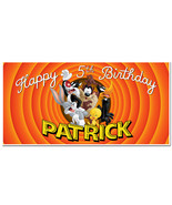 Looney Tunes Birthday Banner Personalized Party Backdrop - $22.28