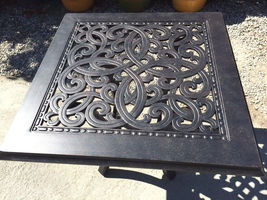 "Patio end table square 24"" Outdoor Cast aluminum Accent Pool side Furniture image 5"
