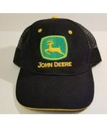 John Deere Black Mesh Snapback Trucker Baseball Cap Hat Patch OSFA - $11.99
