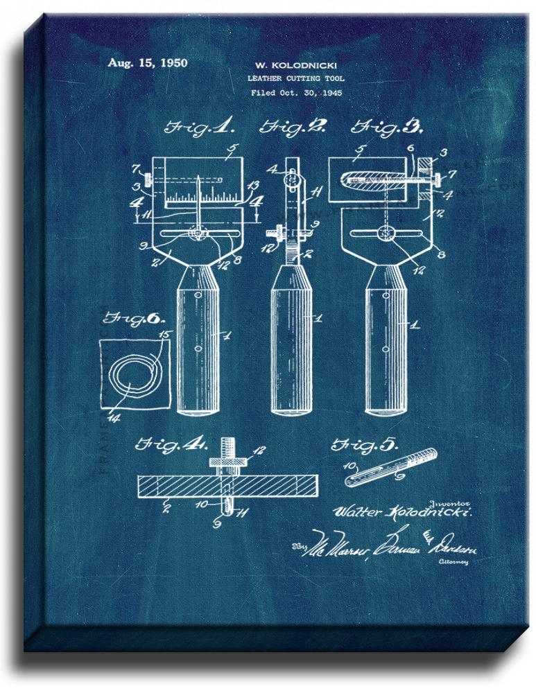 Primary image for Leather-cutting Tool Patent Print Midnight Blue on Canvas