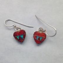 Sterling Silver Small Inlay Heart Shaped Hook Dangle Earrings - $19.99