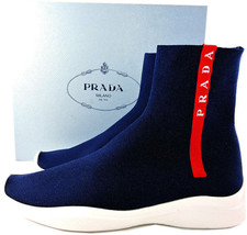 Prada Sport Runner Shoes Red Logo Band Blue Sock Sneakers 38 Booties - $358.98