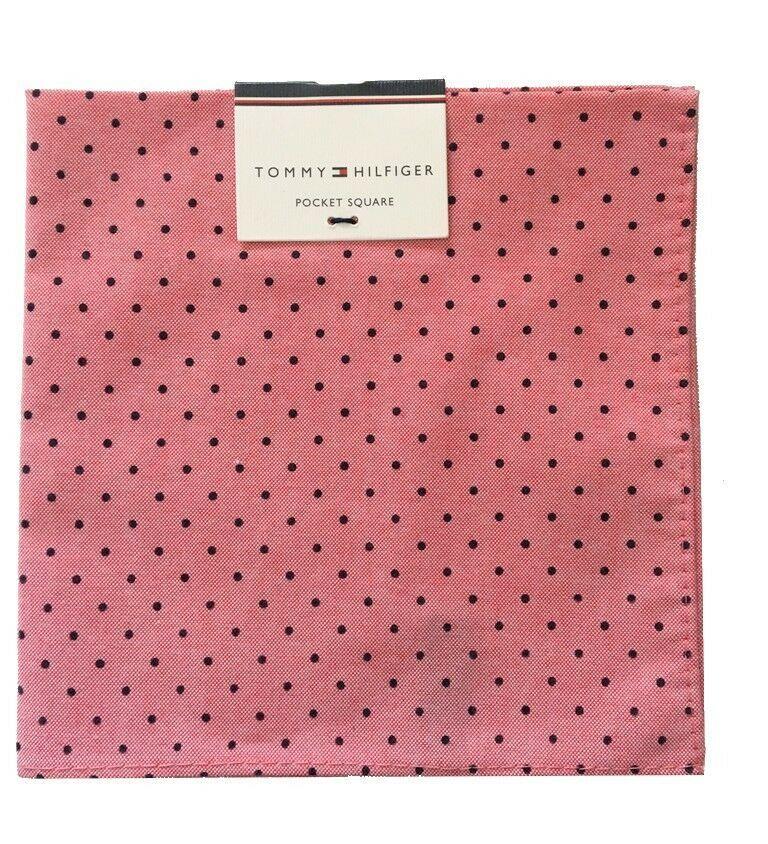 Tommy Hilfiger Pocket Square Polka Dot Dark Pink Black Handkerchief New