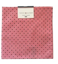 Tommy Hilfiger Pocket Square Polka Dot Dark Pink Black Handkerchief New - $25.62
