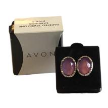 Avon Silver Tone Jeweltone Purple Faceted Stud Earrings  - $15.83