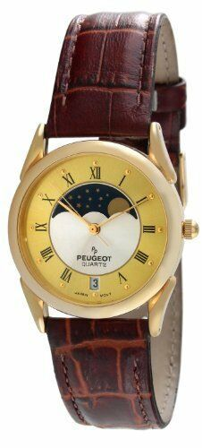 Peugeot Vintage 566M Men's Two-tone Moon Phase Leather Watch