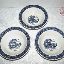 3 HOMER LAUGHLIN SHAKESPEARE BLUE STAGECOACH RIM CEREAL SOUP BOWL TRANSF... - $9.20