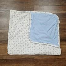 Vintage Baby Gap White Blue Brannan Teddy Bear Cotton Blanket Boy Receiving - $49.49