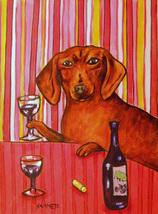 animal Art oil painting printed on canvas home decor DACHSHUND WINE  - $14.99+