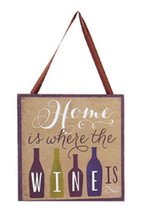 "KURT S. ADLER ""HOME IS WHERE THE WINE IS"" WINE BOTTLE PLAQUE CHRISTMAS O... - $4.88"