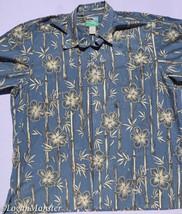 Reyn Spooner XL Hawaiian Aloha Shirt Blue Bamboo Hibiscus Hawaii - $31.63