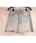 Levis Premium Womens Denim Jean Skirt Distressed 25 - $19.80