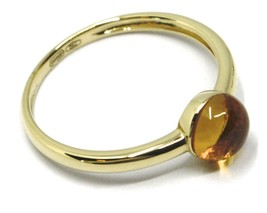 SOLID 18K YELLOW GOLD RING, CABOCHON CENTRAL CITRINE, DIAMETER 6mm image 2