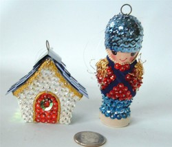 Vintage 2 Bead Sequin Xmas Ornaments Toy Soldier House 3D Figural Hand Made - $19.79