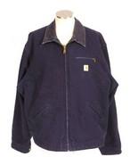 Vtg CARHARTT Work Jacket Blue Canvas Flannel Blanket Lined Field Mens 52... - $34.64
