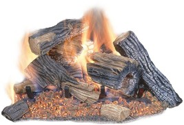 "Fireplace Natural Gas Log Set Vented Fire Place Oak Wood Logs 24"" Oak Re... - $185.21"