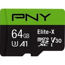 PNY P-SDU64GU3100EX-GE 64GB Elite-X Class 10 U3 V30 MicroSDXC Flash Memo... - $17.99