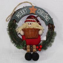 Santa Claus Wood Wreath Decoration Wall Door Hanger Christmas 9 Inch Dia... - $19.99