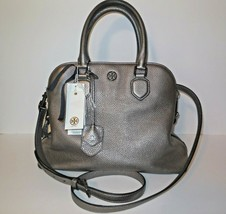 Tory Burch Robinson Open Dome Leather Satchel Shoulder Bag Pebbled Gunme... - $200.00