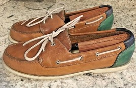G.H. BASS VINTAGE Boat Shoes Genuine Brown Leather Green Blue SIZE 10 M - $18.22