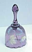 """Fenton Purple Bell Artist Signed Felicia Enoch 4.25"""" Flower Floral Oval - $22.44"""