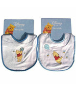 2 TWO Bibs Embroidered Terry Winnie the Pooh Bee Honey Baby Infant Boy B... - $12.45