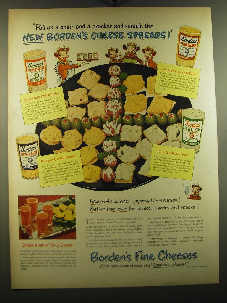 1950 Borden's Cheese Spreads Ad - Pull up a chair and a cracker and sample - $14.99