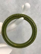 Vintage Bakelite Green Floral Ornate Craved Bangle Bracelet Collectible ... - $112.20