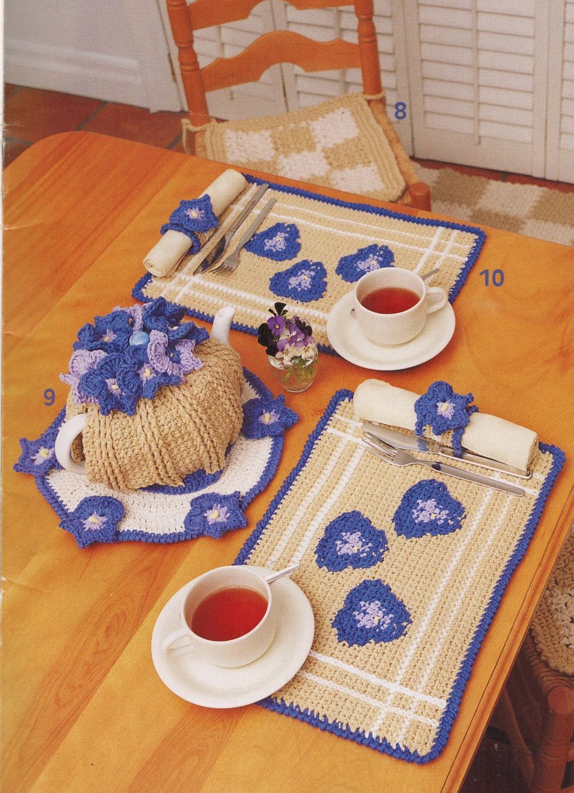 Primary image for 13 Crochet Pansy Apron Towel Pot Pie Plate Utensil Holder Place Mats Rug Pattern