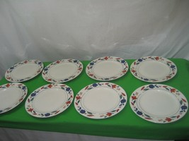 8 Porcelain China White Smooth Blue & Red Leaf Dinner Plates Dish Made i... - $15.85