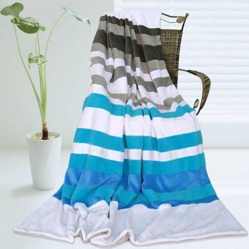 Onitiva - [Stripes - Blue Fairy] Soft Coral Fleece Patchwork Throw Blanket (59 b