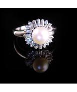 Vintage genuine pearl cocktail ring / Sterling baguette bridal ring /  s... - $110.00
