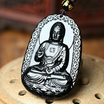 Black Natural A Obsidian Carved Buddha Pendant Rope with Chain - Random design image 10
