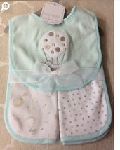 Baby Bib and Burp Cloth Set of 3 pc., Embroidered Mint Color Balloon - $10.50